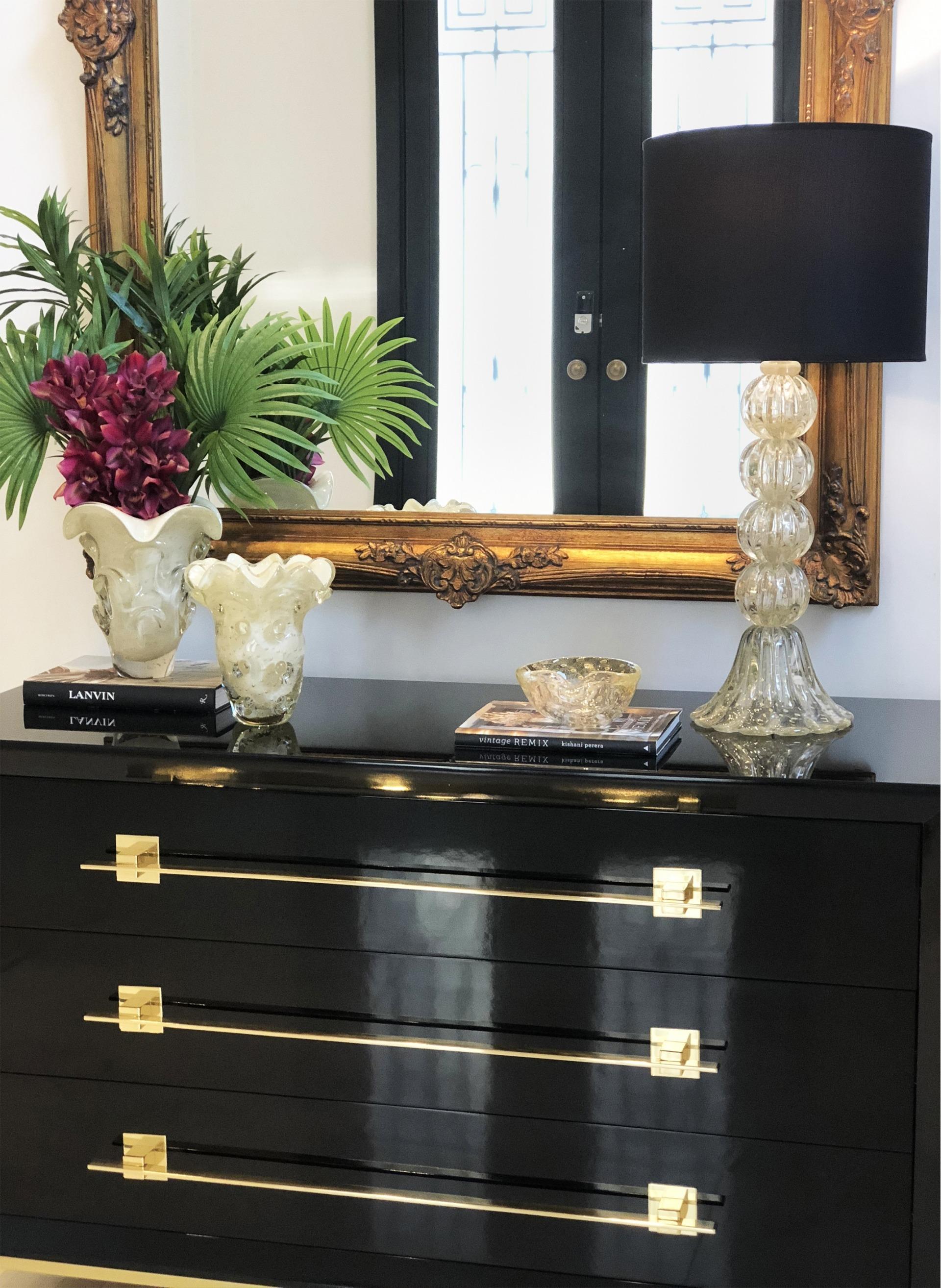Abajur murano bolas transparente com ouro