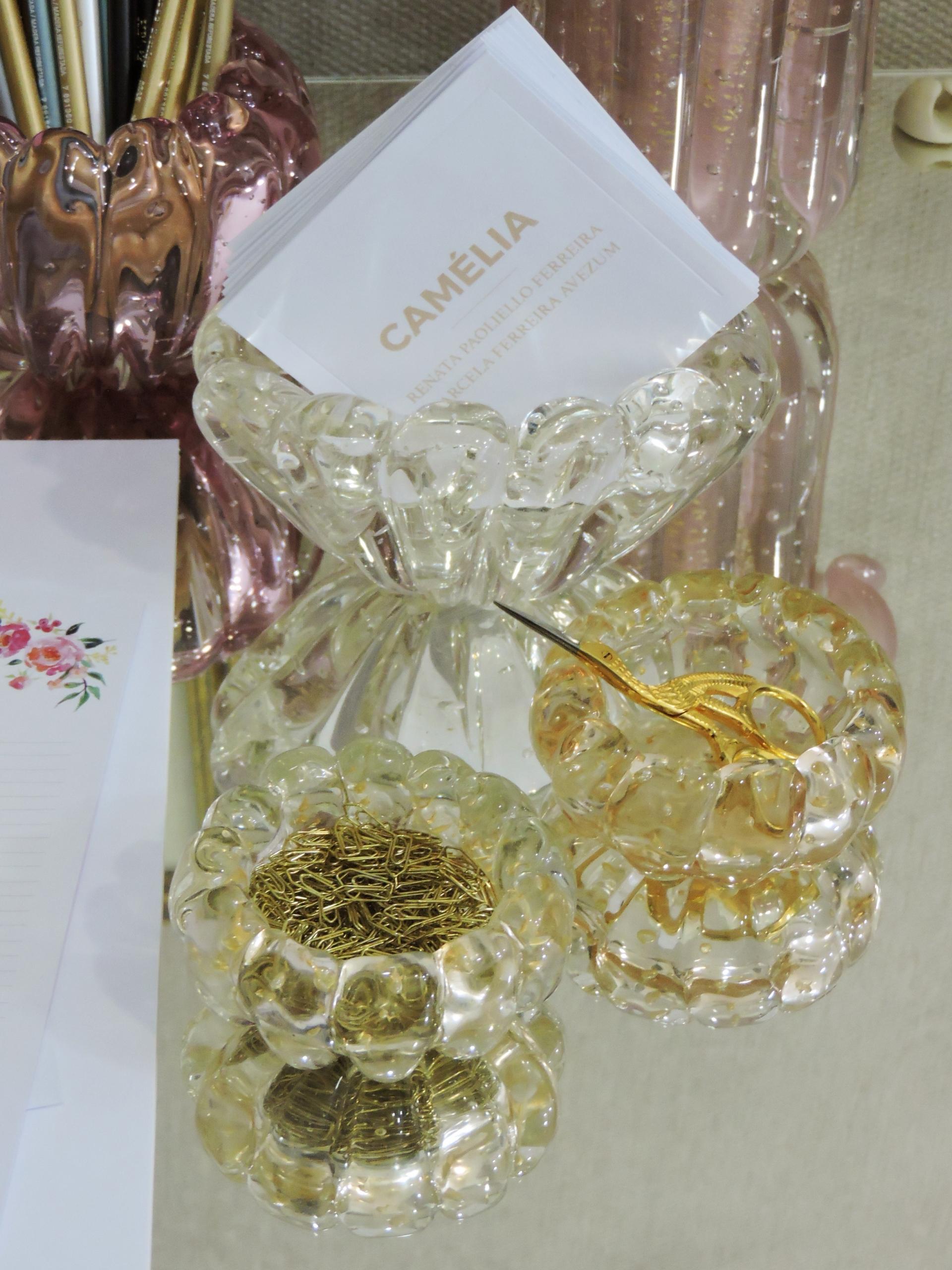 Micro centro murano canelado champagne com ouro