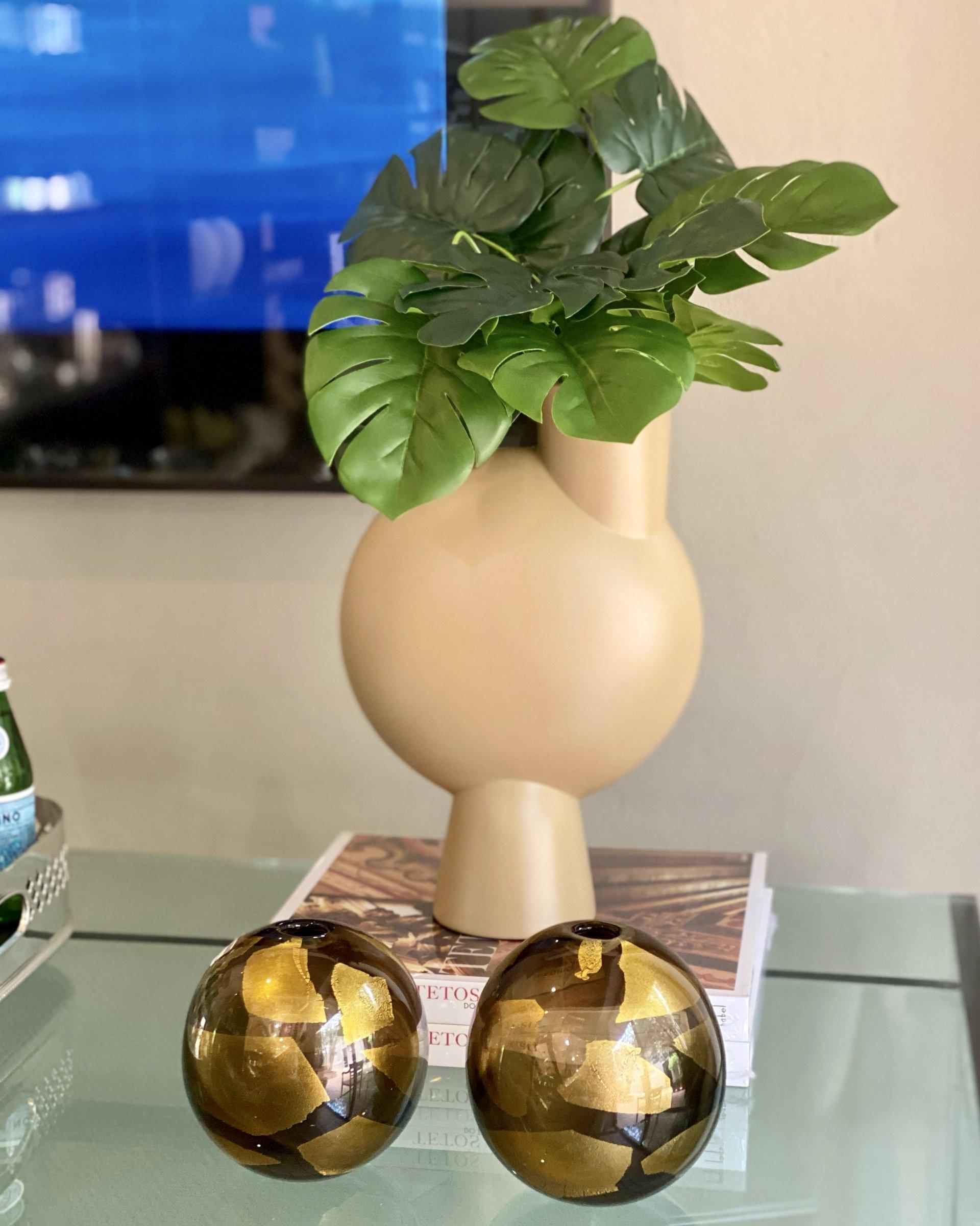 Vaso murano pezzi redondo grafite com ouro