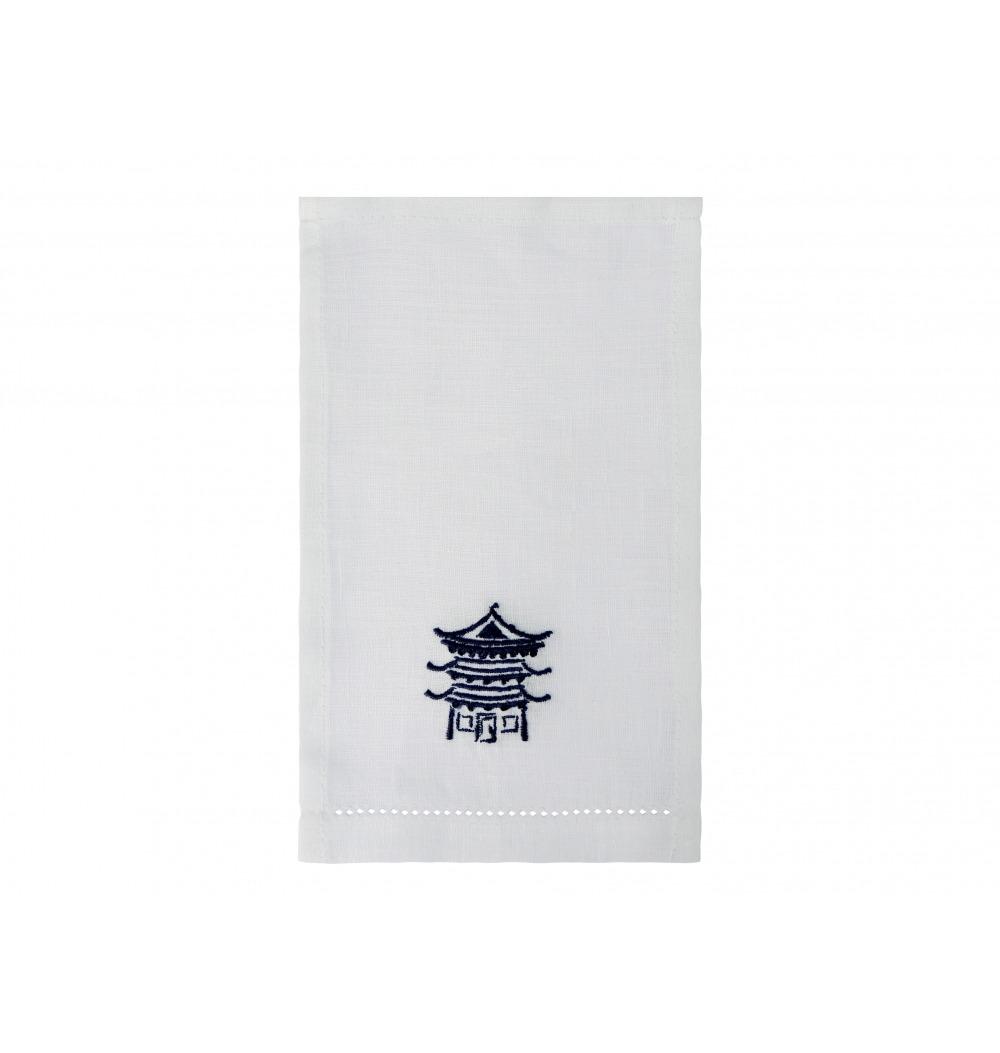 Guardanapo aperitivo bordado chinês azul
