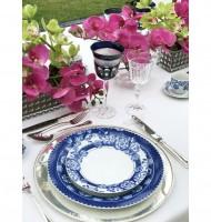 Aparelho jantar azul floral 14 peças