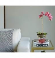 Centro murano canelado pink com ouro