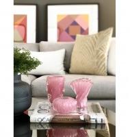 Centro de murano costine rosa chiclete com ouro M