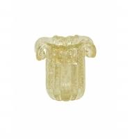 Mini vaso murano pétalas transparente com ouro