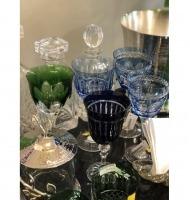 Taça cristal  azul marinho friso alto relevo