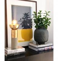 Vaso cerâmica preto fosco com relevo