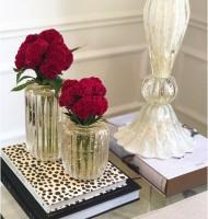 Vaso de murano reto canelado M transparente com ouro