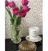 Vaso murano fleur transparente com ouro