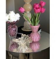 Vaso murano tulipa P rosa chiclete com ouro