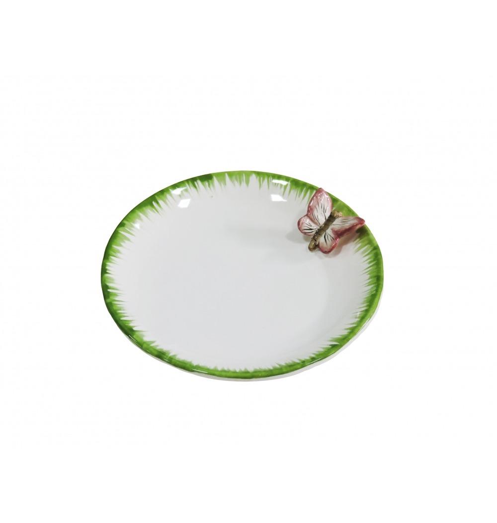 Mini petisqueira cerâmica borboleta rosa