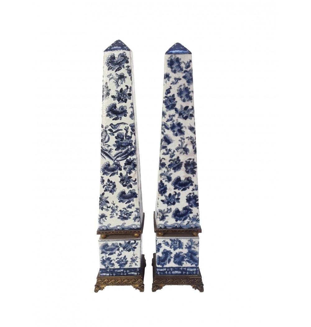 Obeliscos desenhos chinês azul e branco