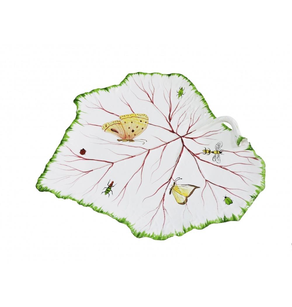 Petisqueira cerâmica folha uva M