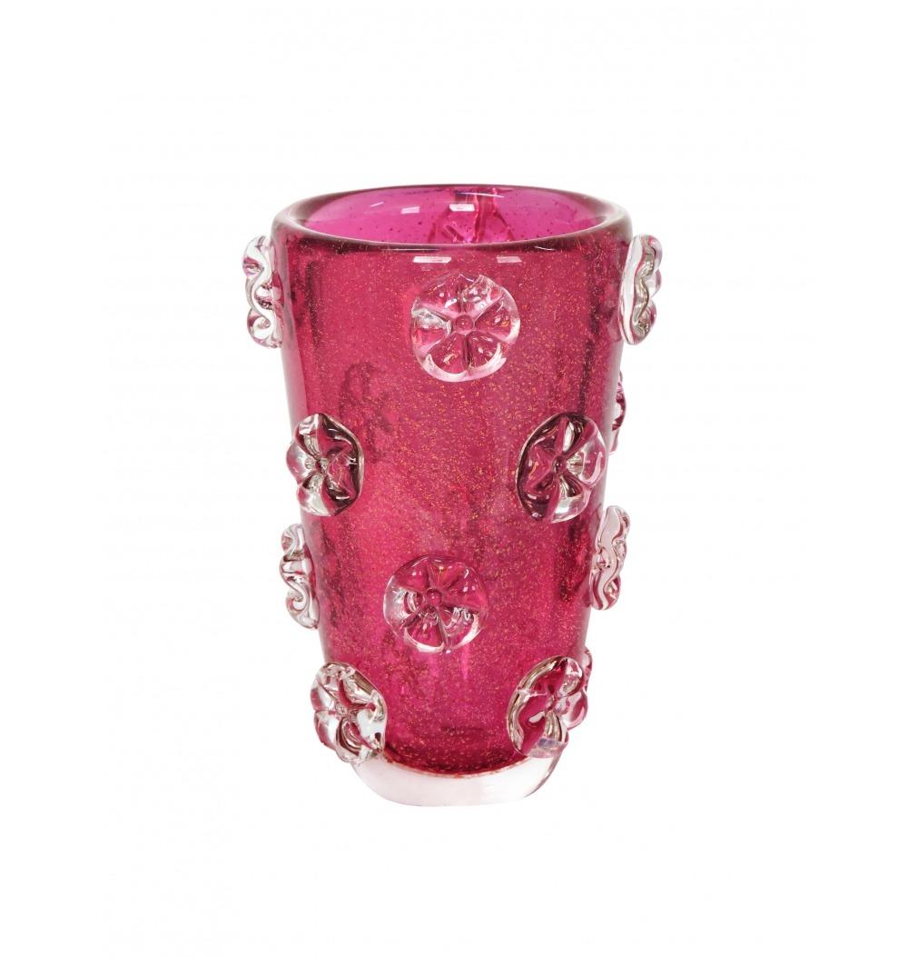 Vaso murano fleur pink com ouro