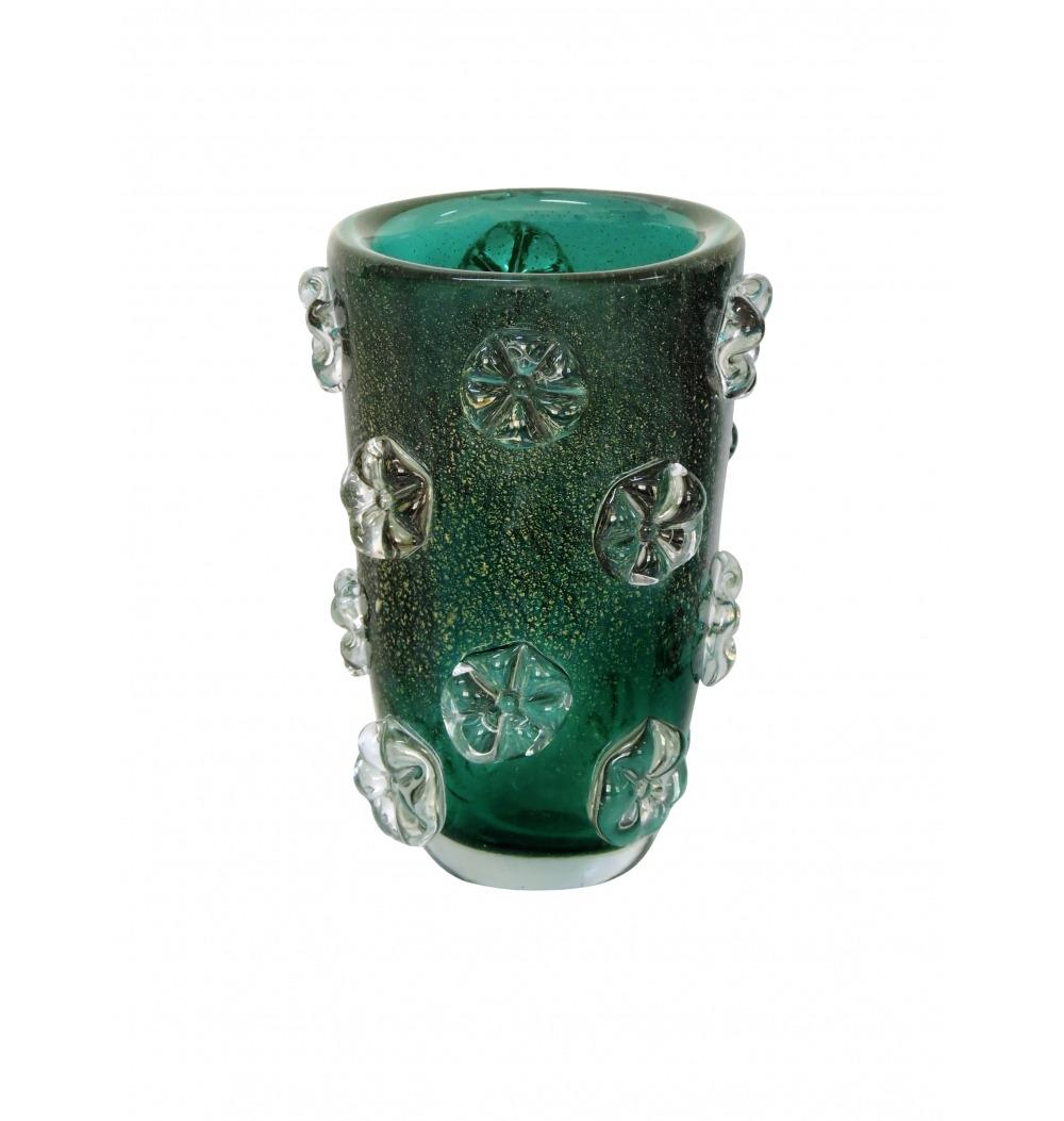 Vaso murano fleur verde esmeralda com ouro